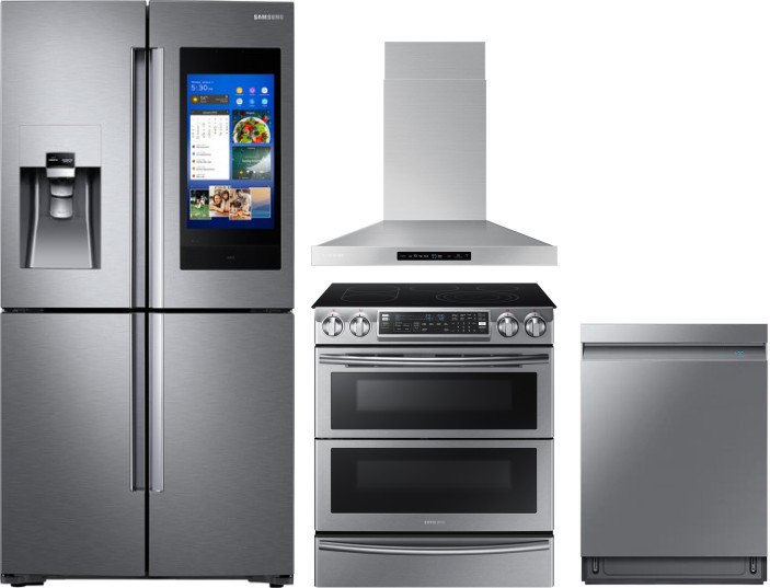 Samsung Sareradwrh3 4 Piece Kitchen Appliances Package With French Door Refrigerator Electric Range And Dishwasher In Stainless Steel