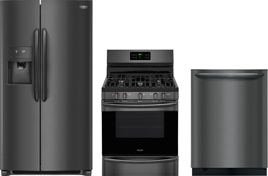 Image of Frigidaire Gallery 3 Piece Kitchen Appliances Package with Side-by-Side Refrigerator, Gas Range and Dishwasher in Black Stainless Steel Black Stainles