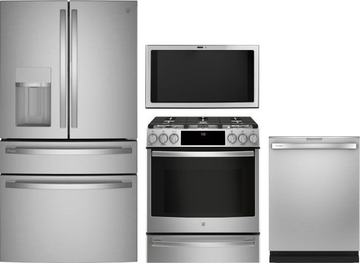 Ge Gereradwrh91219 4 Piece Kitchen Appliances Package With French Door Refrigerator Gas Range And Dishwasher In Stainless Steel