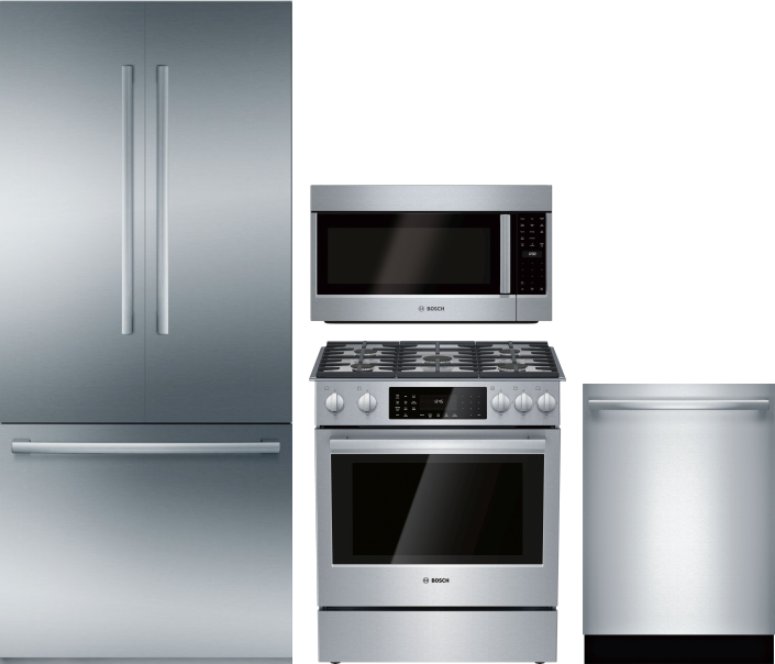 Image of Bosch Benchmark 4 Piece Kitchen Appliances Package with French Door Refrigerator, Dual Fuel Range, Dishwasher and Over the Range Microwave in Stainles