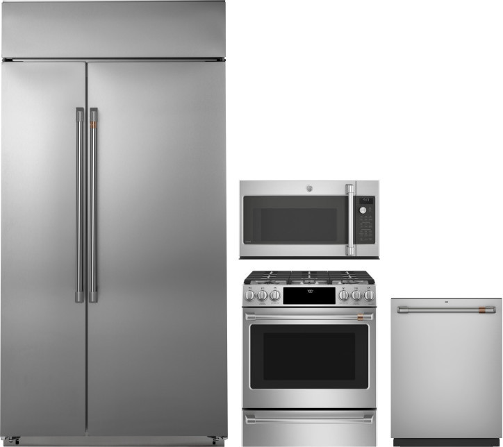 Image of Cafe 4 Piece Kitchen Appliances Package with Side-by-Side Refrigerator, Gas Range, Over the Range Microwave and Dishwasher in Stainless Steel Stainles