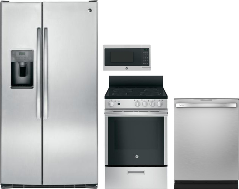 Image of GE 4 Piece Kitchen Appliances Package with Side-by-Side Refrigerator, Electric Range, Counter Top Microwave and Dishwasher in Stainless Steel Stainles