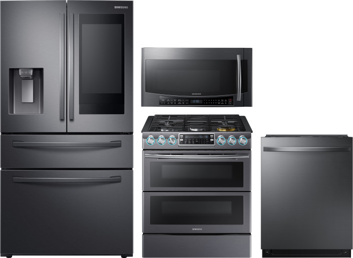 Samsung Sareradwmw12288 4 Piece Kitchen Appliances Package With French Door Refrigerator Gas Range Dishwasher And Over The Range Microwave In Black Stainless Steel