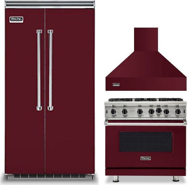 Viking Virerarh30 3 Piece Kitchen Appliances Package With Side By Side Refrigerator And Gas Range In Burgundy