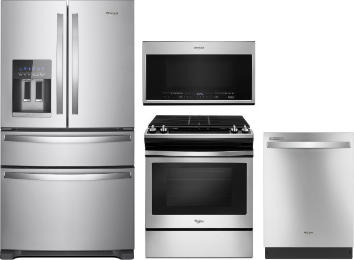 Whirlpool Wpreramwdw111122 4 Piece Kitchen Appliances Package With French Door Refrigerator Gas Range Dishwasher And Over The Range Microwave In Stainless Steel