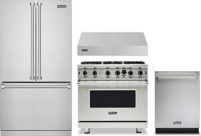 Viking Vireradwrh1399 4 Piece Kitchen Appliances Package With French Door Refrigerator Gas Range And Dishwasher In Stainless Steel