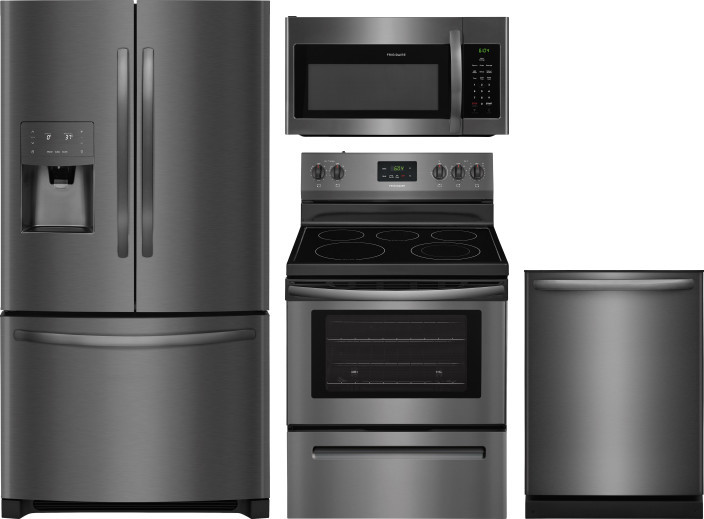 Image of Frigidaire 4 Piece Kitchen Appliances Package with French Door Refrigerator, Electric Range, Dishwasher and Over the Range Microwave in Black Stainles