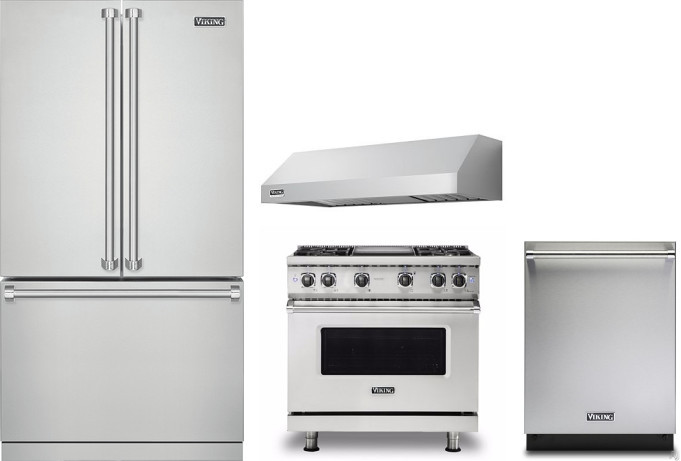 Viking Vireradwrh2213 4 Piece Kitchen Appliances Package With French Door Refrigerator Gas Range And Dishwasher In Stainless Steel