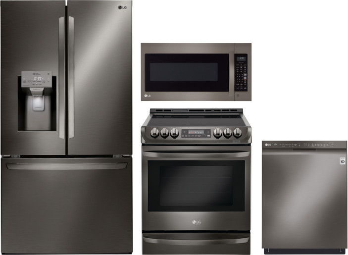 Lg Lgreradwmw5183 4 Piece Kitchen Appliances Package With French Door Refrigerator Electric Range Dishwasher And Over The Range Microwave In Black Stainless Steel