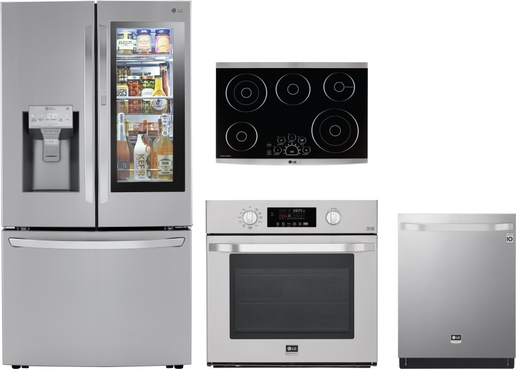 Lg Lgrectwodw201 4 Piece Kitchen Appliances Package With French Door Refrigerator And Dishwasher In Stainless Steel
