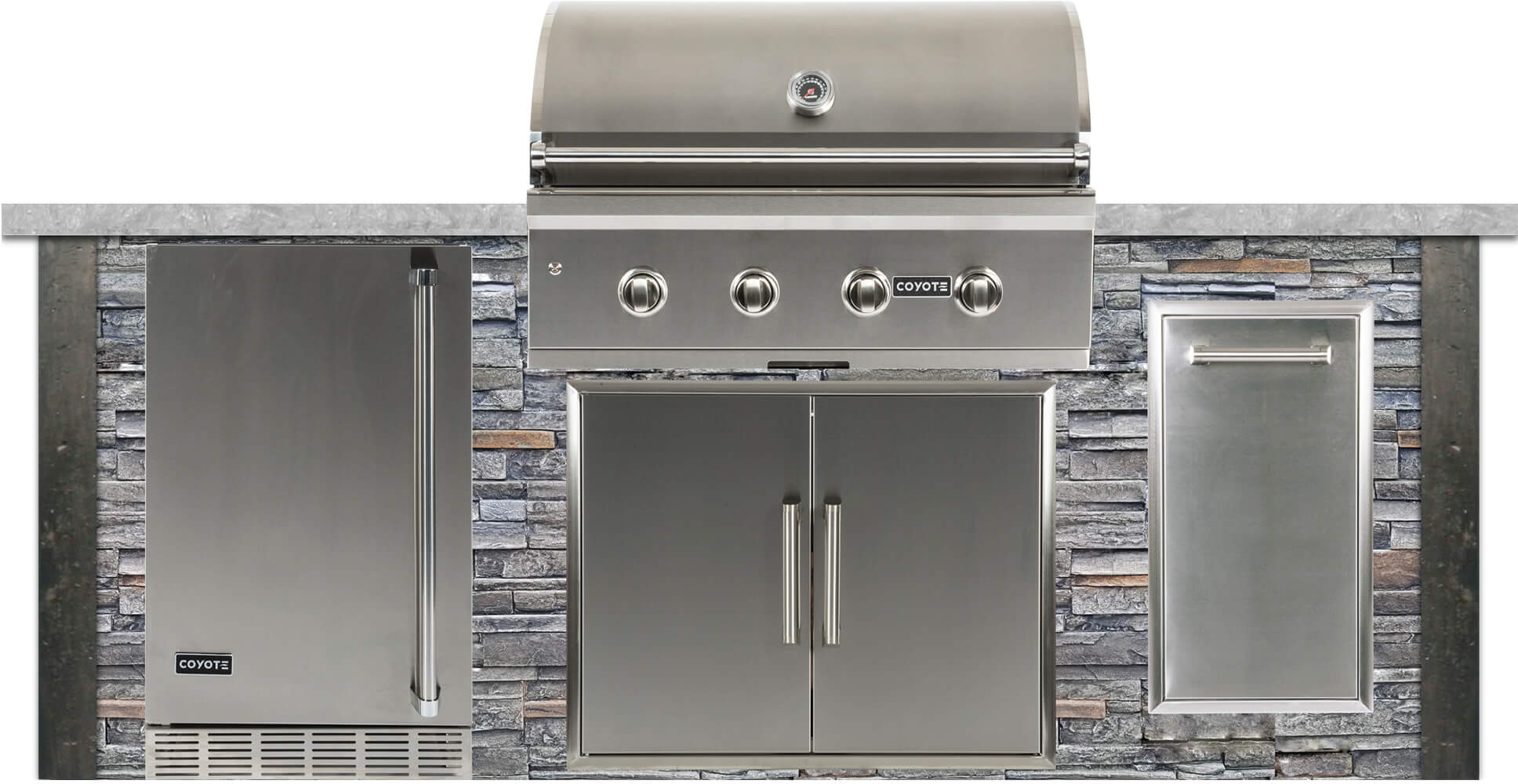Rta Rtag8upackage17 8 Outdoor Kitchen Island With 36 Built In Natural Gas Grill 21 Refrigerator 31 Double Access Doors And 14 Pull Out Trash And Recycle