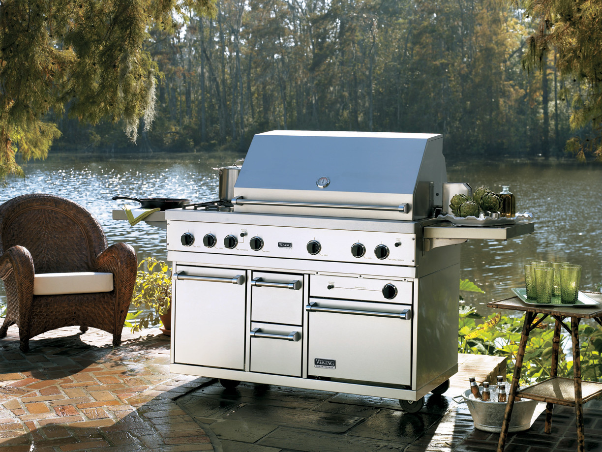 Viking Bqco53t1lss 53 Inch Grill Cart With 2 5 Cu Ft Gas Oven 2 Side Shelves 2 Storage Drawers And Front Door Stainless Steel Liquid Propane