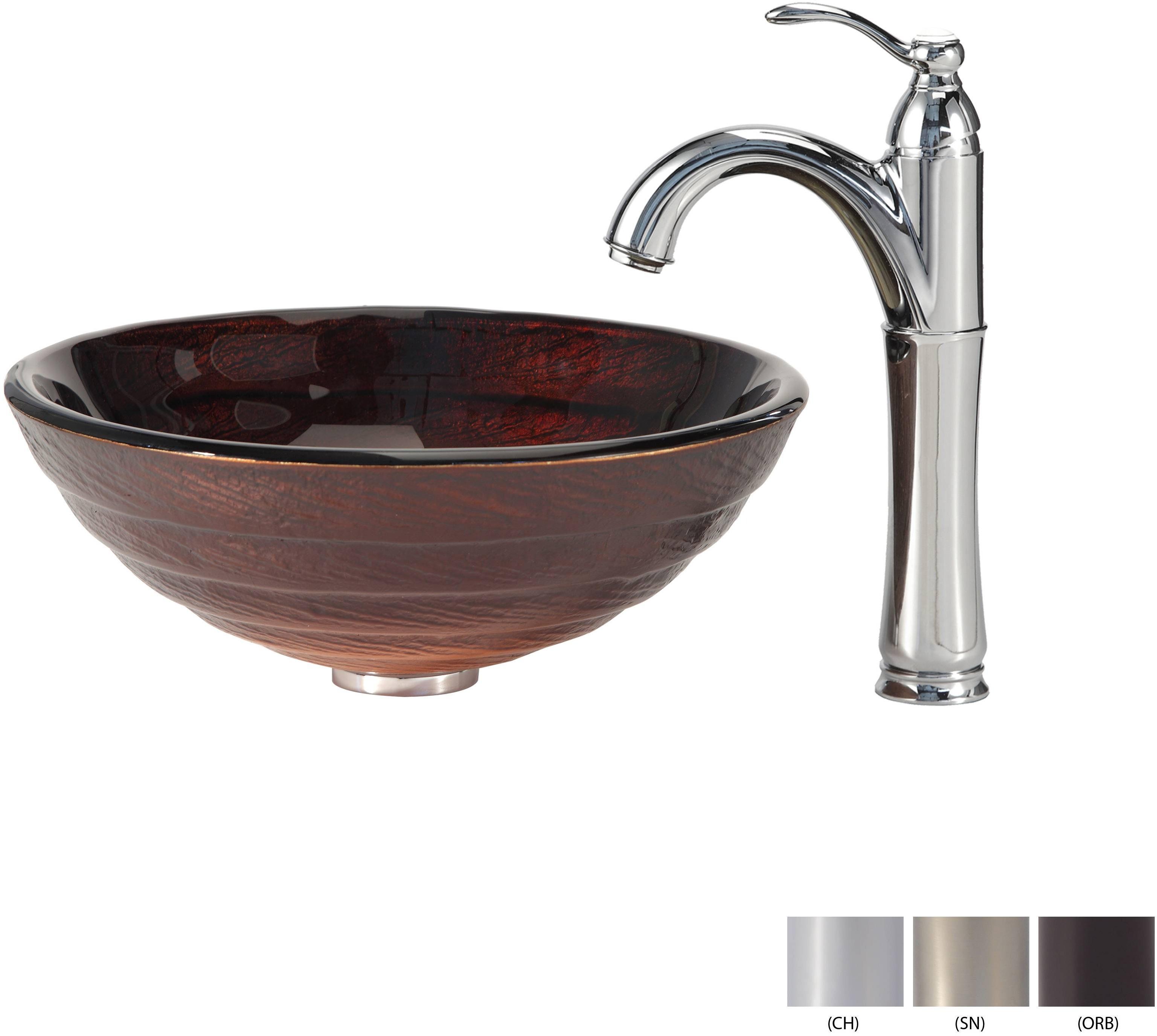 Kraus C-GV-693-19mm-1005SN Iris Glass Vessel Sink and Riviera Faucet Satin Nickel