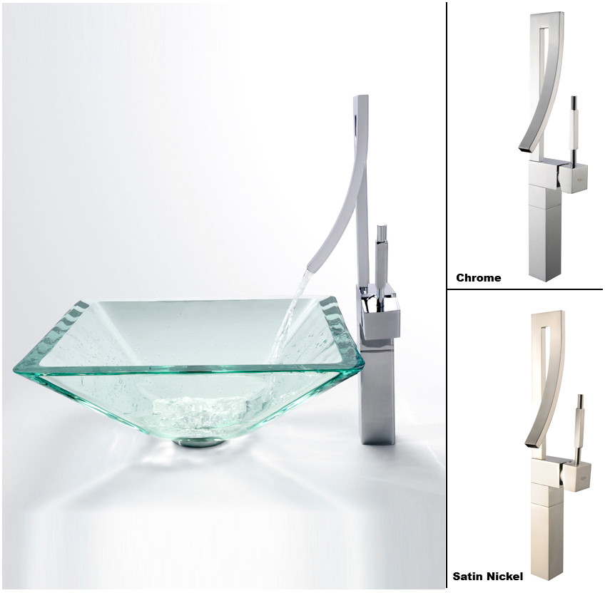 Kraus Square Glass Series. Kraus CGVS90119MM15SN 17 Inch Aquamarine Square Vessel Sink