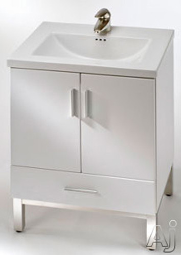 Empire Industries Df2421wgs 22 Inch Contemporary Vanity With 2 Cabinet Doors 1 Bottom Drawer Vanity And Optional 24 Inch Fiorella Ceramic Countertop White Gloss Satin Frame