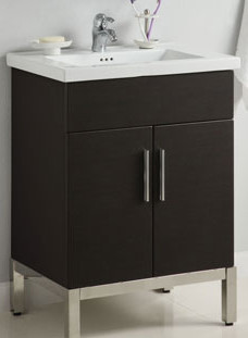 Empire Industries Dv2420bgp 23 Inch Contemporary Vanity With 2 Cabinet Doors Blum Hinges And Optional 24 Inch Villa Ceramic Countertop Black Gloss Polished Frame