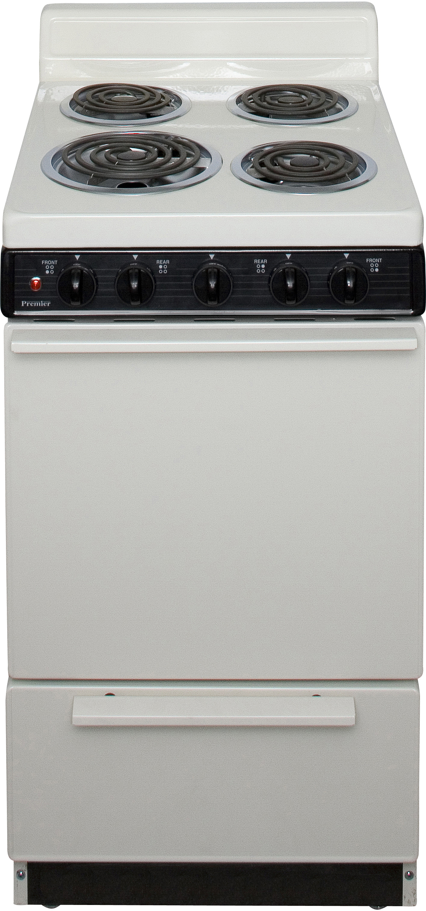 Premier Eak100t 20 Inch Freestanding Electric Range With 4 Coil Elements 2 4 Cu Ft Manual Clean Oven Surface Signal Light 4 Inch Porcelain Backguard And Storage Drawer Bisque With Black Trim