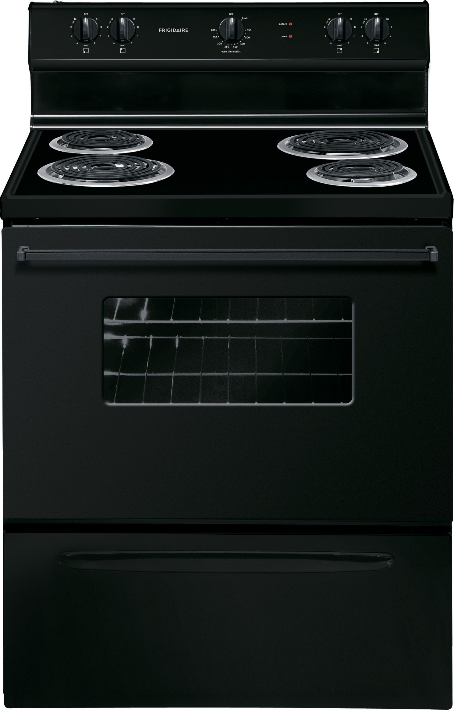 Frigidaire FFEF3005MB 30 Inch Freestanding Electric Range with Chrome Drip  Bowls, Interior Lighting, Storage Drawer, 4 Coil Elements and 4.2 cu. ft.