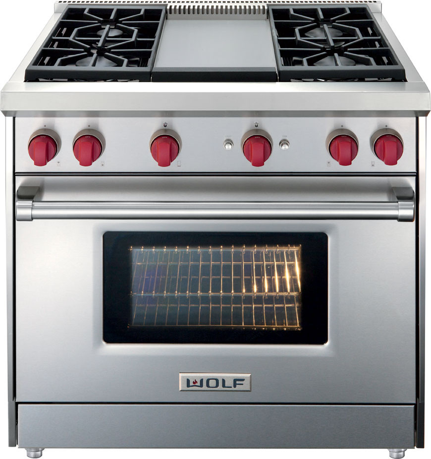 Wolf Gr364glp 36 Inch Pro Style Gas Range With 5 Cu Ft Convection Oven 4 Dual Stacked Seal Burners Infrared Griddle Broiler