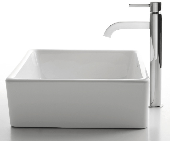 Image of Kraus Ceramic Sink & Faucet Combination CKCV1201007CH