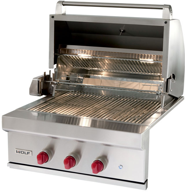 Wolf Og30 30 Inch Built In Gas Grill With 25 000 Btu Burners Infrared Rotisserie System Ceramic Briquettes Stainless Steel Hexagonal Grates Warming Rack