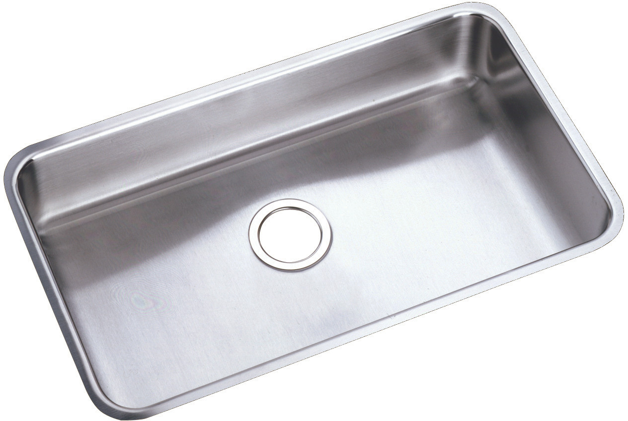 Elkay plauh281612 30 1 2 inch undermount stainless steel laundry sink with 11 1 2 inch bowl depth 18 gauge sound guard and lustrous satin finish