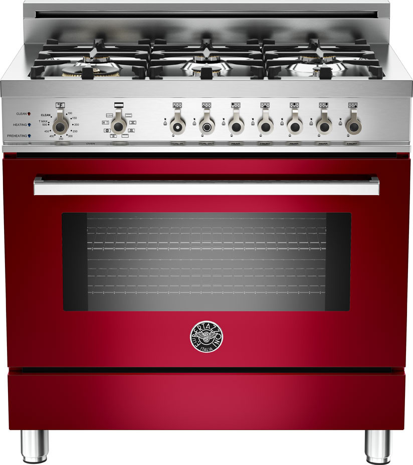 Bertazzoni Pro366dfsvilp 36 Inch Pro Style Dual Fuel Range With 6 Sealed Br Burners 4 0 Cu Ft Convection Oven Self Clean Infrared Broiler And