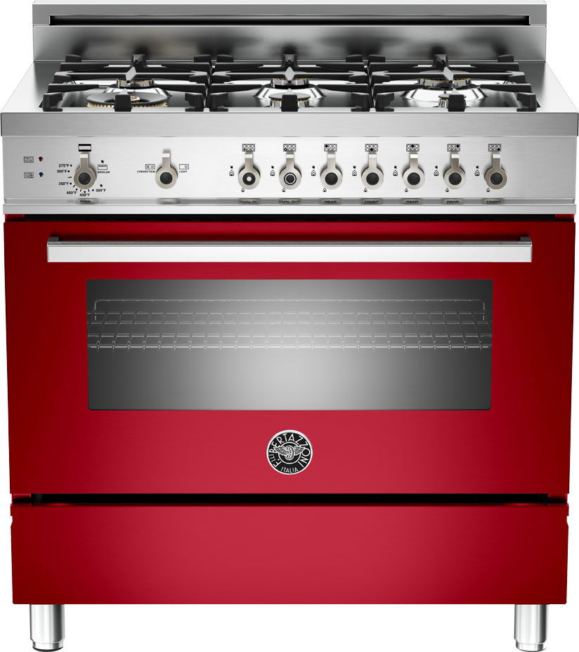 Bertazzoni Pro366gasro 36 Inch Pro Style Gas Range With 4 Cu Ft Convection Oven 6 Sealed Br Burners Broiler Defrost Dehydrate Telescopic Glide