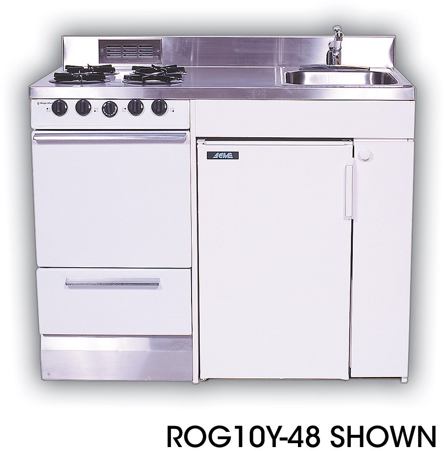 Acme Roe9y48 Compact Kitchen With Stainless Steel Countertop 4 Electric Burners Oven Sink And Refrigerator 48 Width