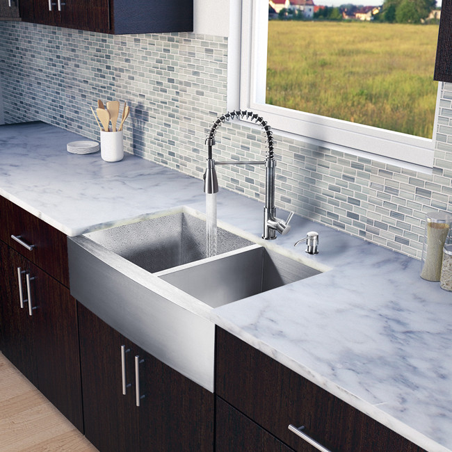 Vigo Industries Vg15133 33 Inch Farmhouse Stainless Steel Double Bowl Kitchen Sink With 9 7 8 Depths 16 Gauge Faucet Set