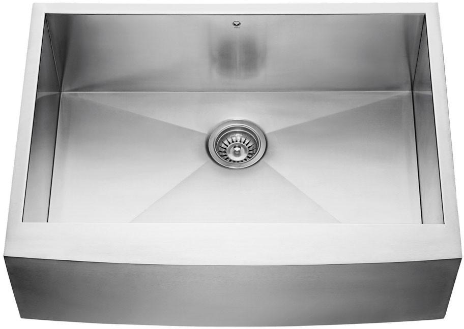 Vigo Industries Vg3020c 30 Inch Single Bowl Stainless Steel Farmhouse Sink With 9 7 8 Depth 16 Gauge Sound Deadening Insulation And Zero Radius