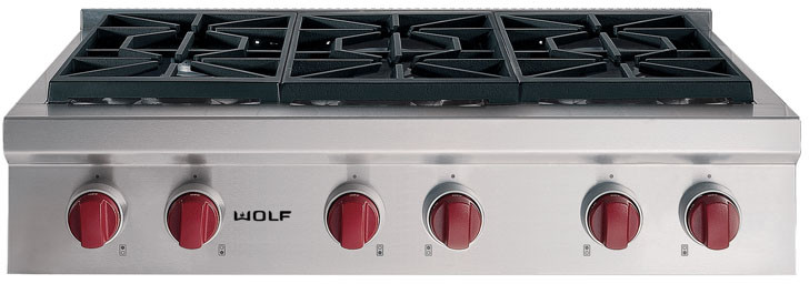 Wolf Srt366 36 Inch Pro Style Gas Rangetop With 6 Dual