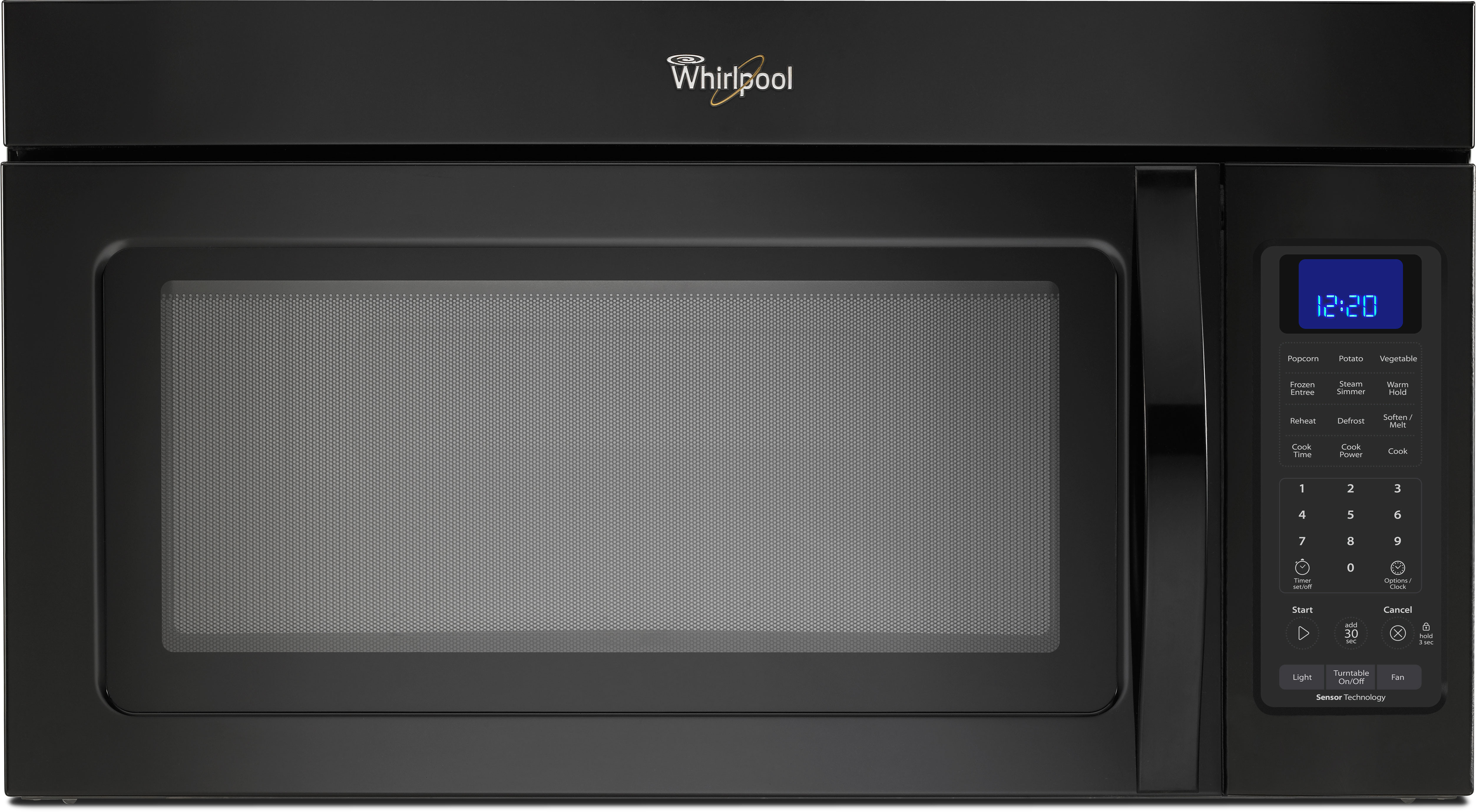 Whirlpool Wmh32519cb 1 9 Cu Ft Over The Range Microwave Oven With 000 Cooking Watts 300 Cfm Venting System Steam Sensor Hidden Vent