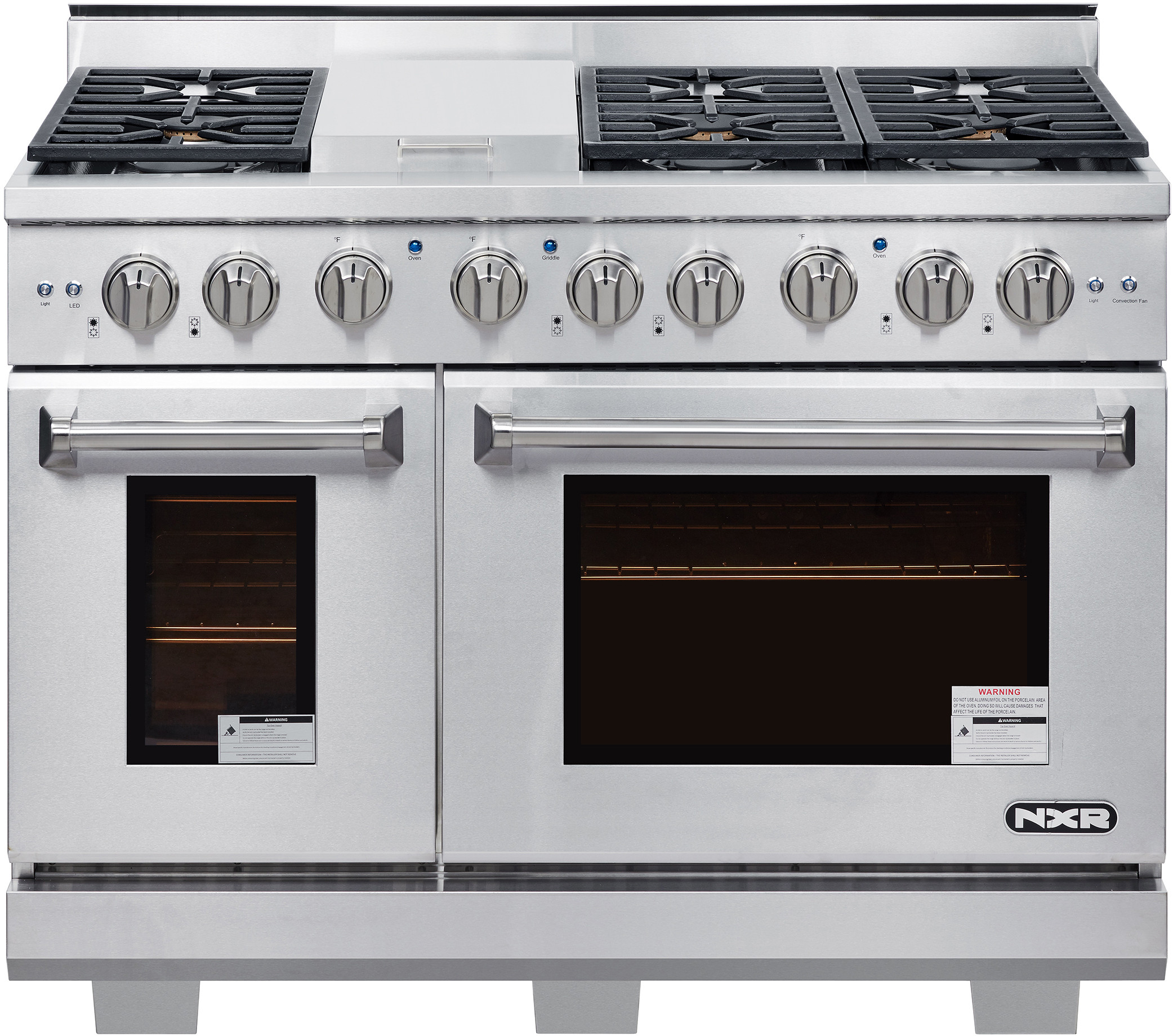 Nxr Ak4807 48 Inch Professional Gas Range With 6 German Tower Dual Flow Burners 7 2 Cu Ft Oven Capacity Continuous Cast Iron Grates Infrared Broiler 18k Btu Griddle 81k Btu Load Blue