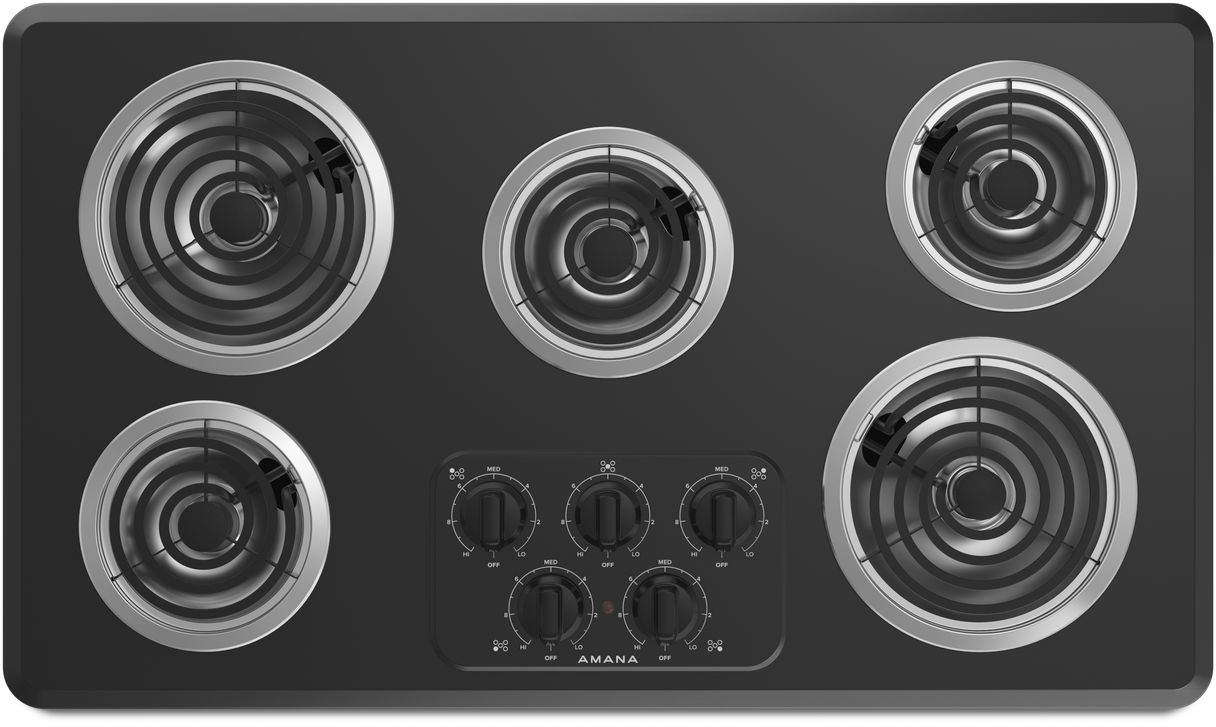Amana Acc6356kfb 36 Inch Electric Cooktop With 5 Heating Elements Right Controls Chrome Drip Pan And Dishwasher Safe Knobs Black