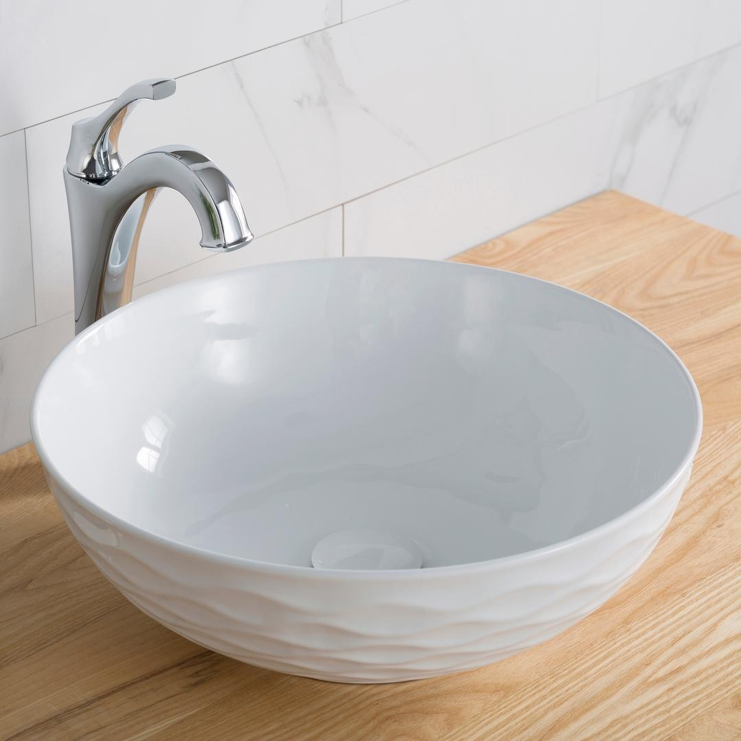Kraus Kcv200gwh20 16 Inch Countertop Single Bowl White Porcelain Ceramic Vessel Bathroom Sink With Ceramic Pop Up Drain Vitreous China Finish Scratch And Stain Resistant Ultra Slim Edges Unique Texture Design Non Porous Surface