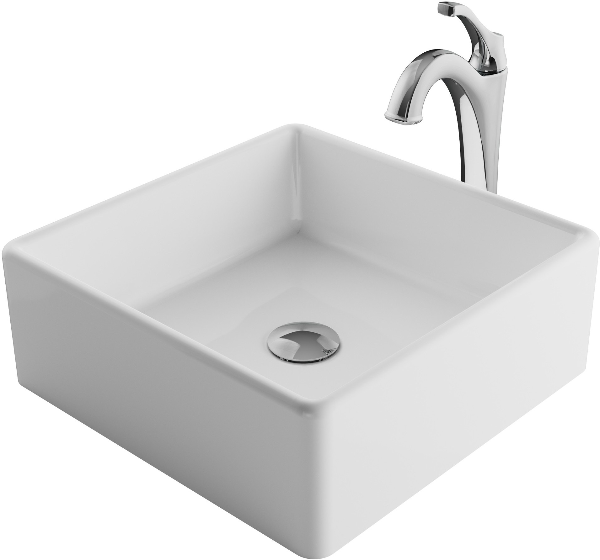 Image of Kraus Ceramic Sink & Faucet Combination CKCV1201200CH