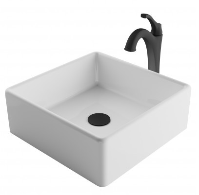 Image of Kraus Ceramic Sink & Faucet Combination CKCV1201200MB