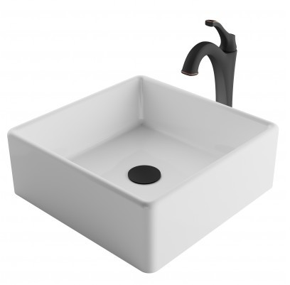 Image of Kraus Ceramic Sink & Faucet Combination CKCV1201200ORB