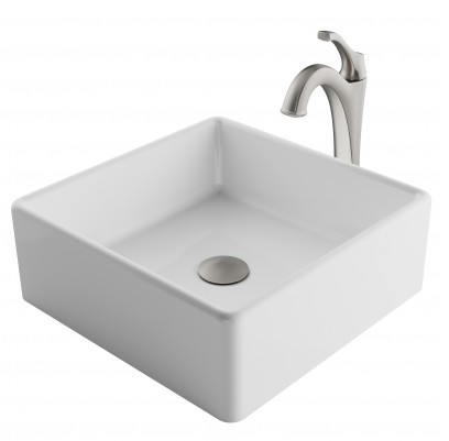 Image of Kraus Ceramic Sink & Faucet Combination CKCV1201200SFS