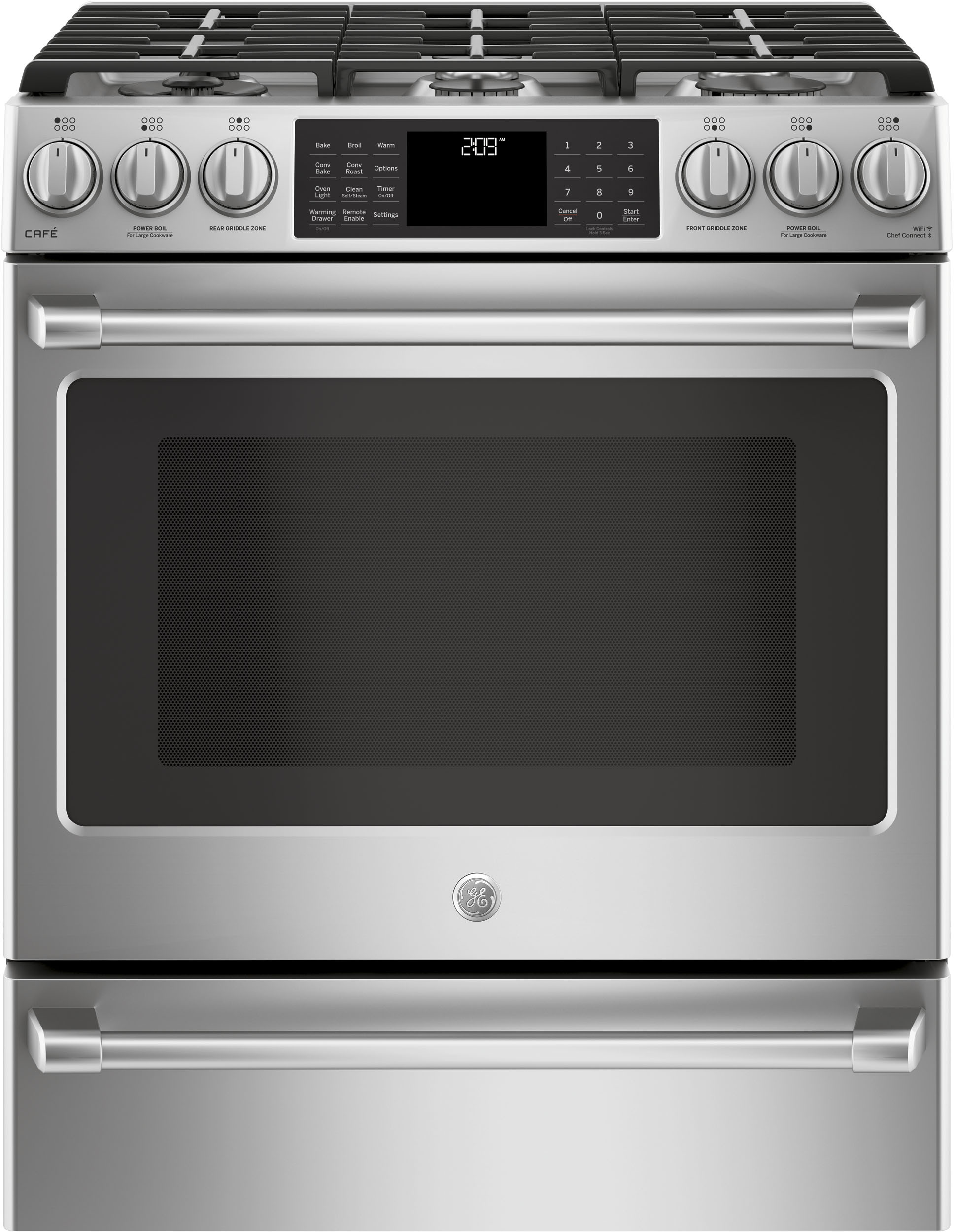 Cafe C2s986selss 30 Inch Slide In Dual Fuel Smart Range With 6 Sealed Burners 5 6 Cu Ft Oven Capacity Tri Ring Burner Simmer Burner Continuous Grates Chef Connect Convection Griddle Meat Probe Self Clean And