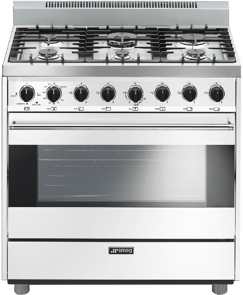 Smeg C36ggbu 36 Inch Freestanding Gas Range With 6 Sealed Burners Electric Oven Stove Stainless Steel Winning Cast Iron Grates 44 Cu Ft Convection Ever Clean Enamel Interior And 2