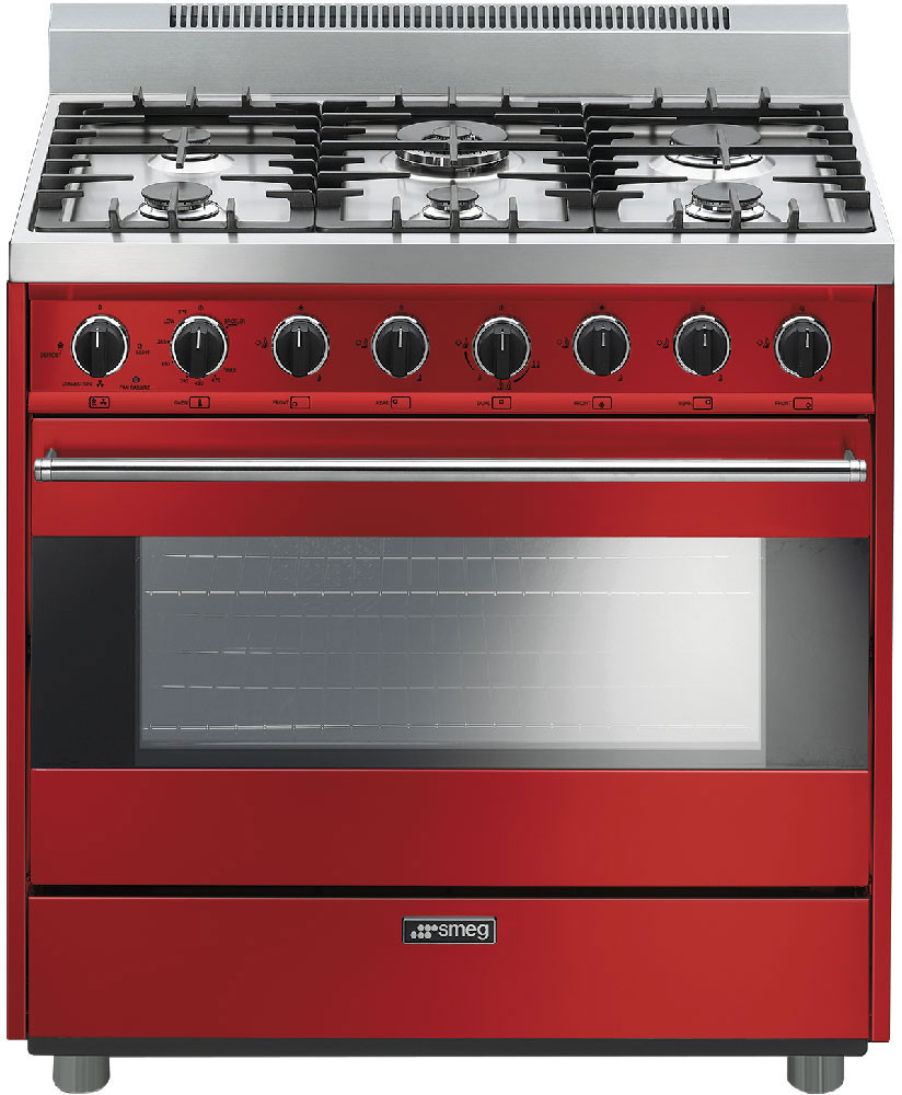 36 Inch Freestanding Gas Range With 6 Sealed Burners Cast Iron Grates 4 Cu Ft Convection Oven Ever Clean Enamel Interior And 2 Lights Red