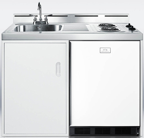 Summit C48el 48 Inch Combination Kitchen With 5 1 Cu Ft Manual Defrost Refrigerator Freezer 2 Electric Coil Burners Stainless Steel Sink Faucet And Storage Compartment