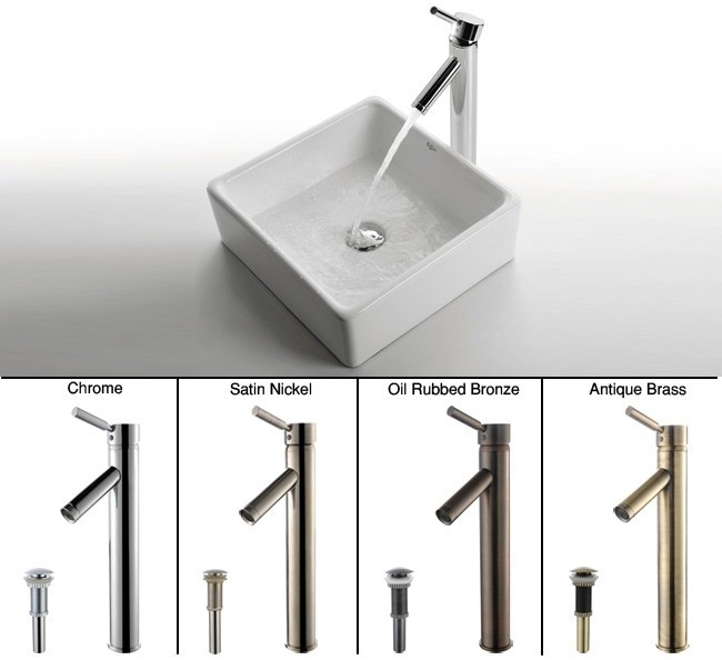 Image of Kraus Ceramic Sink & Faucet Combination CKCV1201002SN