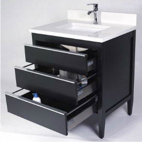 Empire Industries Cp24b 24 Inch Contemporary Vanity With 3 Soft Close Cabinet Drawers Functional Shallow Top Drawer And Full Extension Aluminum Pulls Black