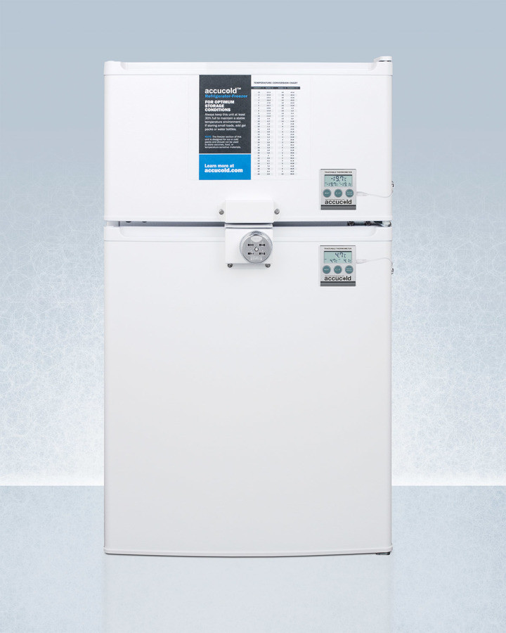 AccuCold 19 Inch 2.9 Cu. Ft. Compact Top Freezer Refrigerator White CP351WLLF2PLUS2