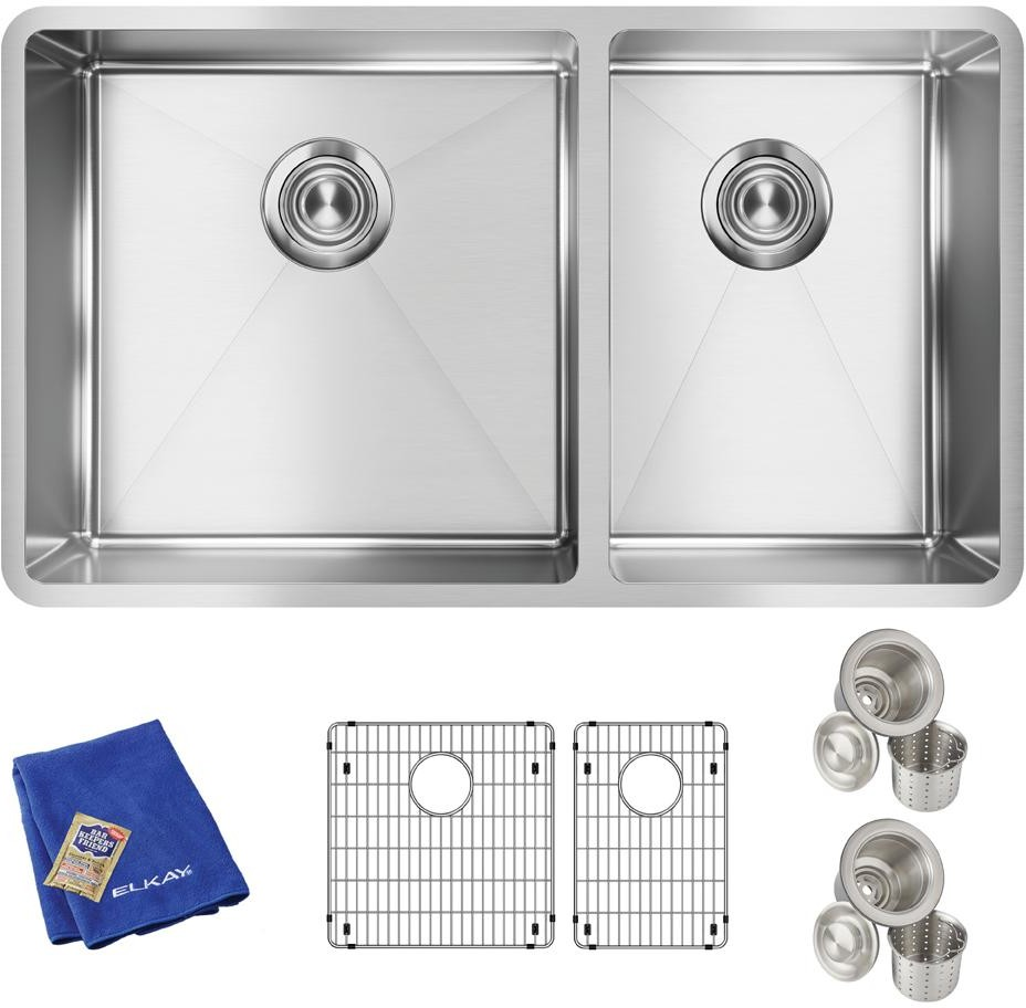 Elkay Ectru32179rtc 31 Inch 60 40 Double Bowl Undermount Kitchen Sink Kit With 18 Gauge Stainless Steel Sound Dampening And Tight Sink Corners