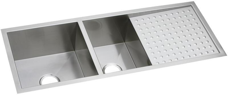 Elkay Efu471810dbt 47 Inch 60 40 Double Bowl Kitchen Sink And Drainboard With 16 Gauge Stainless Steel Sound Dampening And Zero Radius Corners