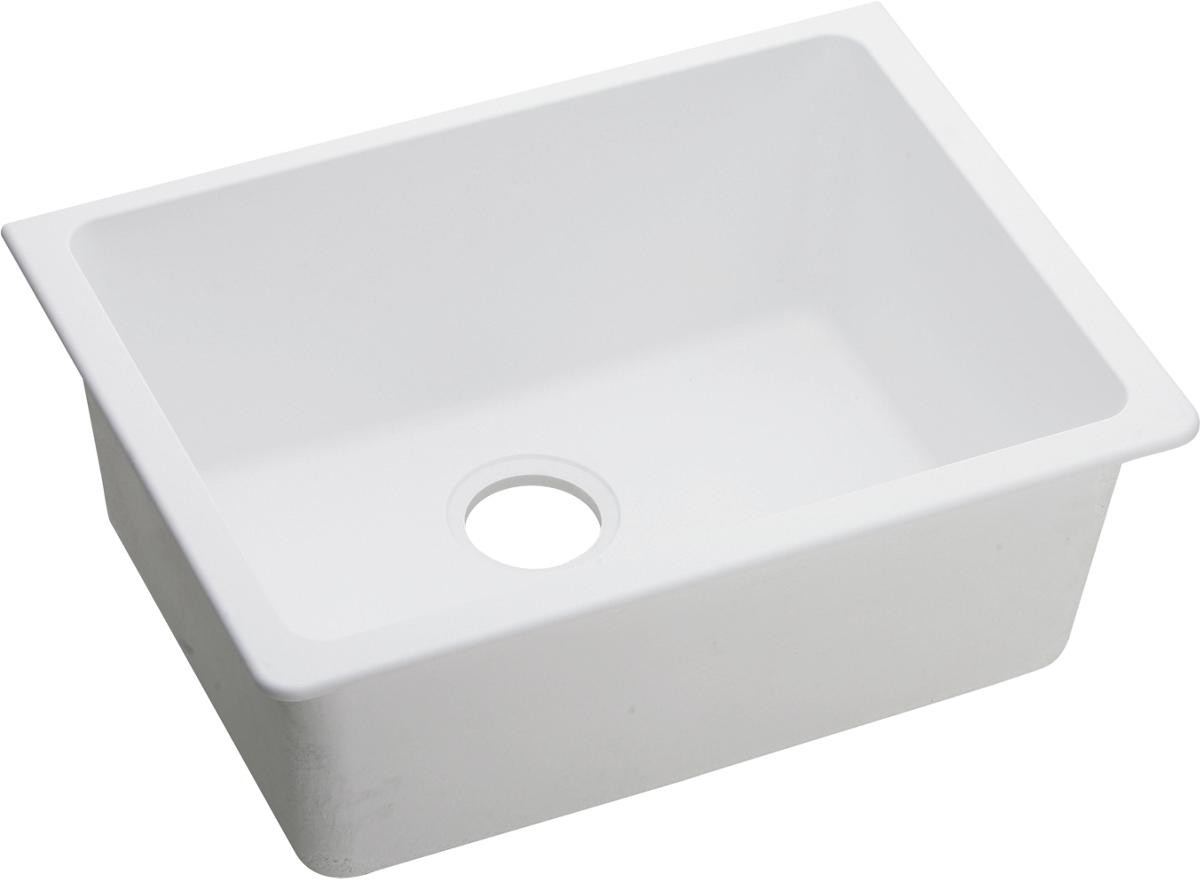 Image of: Elkay Elgu2522wh0 25 Inch Single Bowl Undermount Kitchen Sink With Scratch Resistant Stain Resistant And Sound Guard Material White